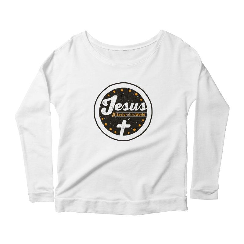 Jesus the Savior Emblem Women's Longsleeve Scoopneck  by Kelsorian T-shirt Shop
