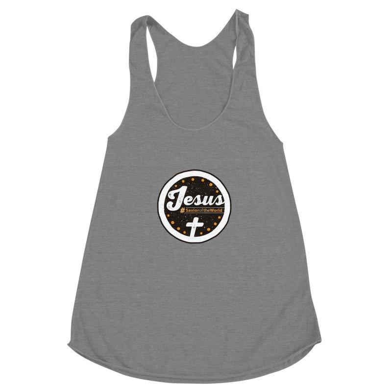 Jesus the Savior Emblem Women's Racerback Triblend Tank by Kelsorian T-shirt Shop