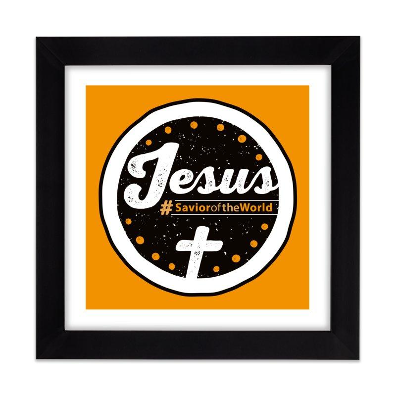 Jesus the Savior Emblem Home Framed Fine Art Print by Kelsorian T-shirt Shop