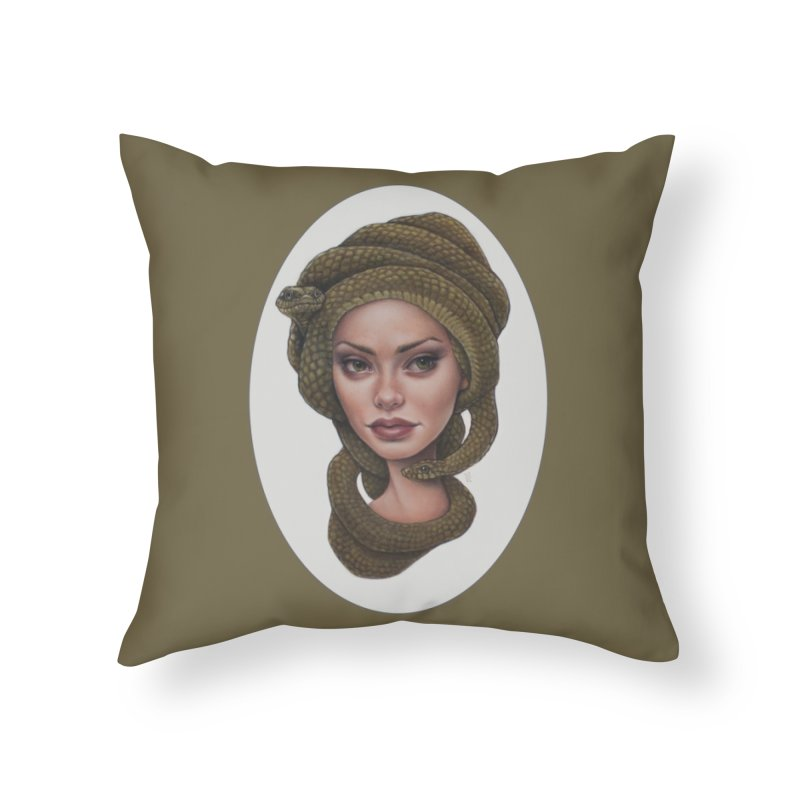The Devil's 'do Home Throw Pillow by kenkeirns's Artist Shop