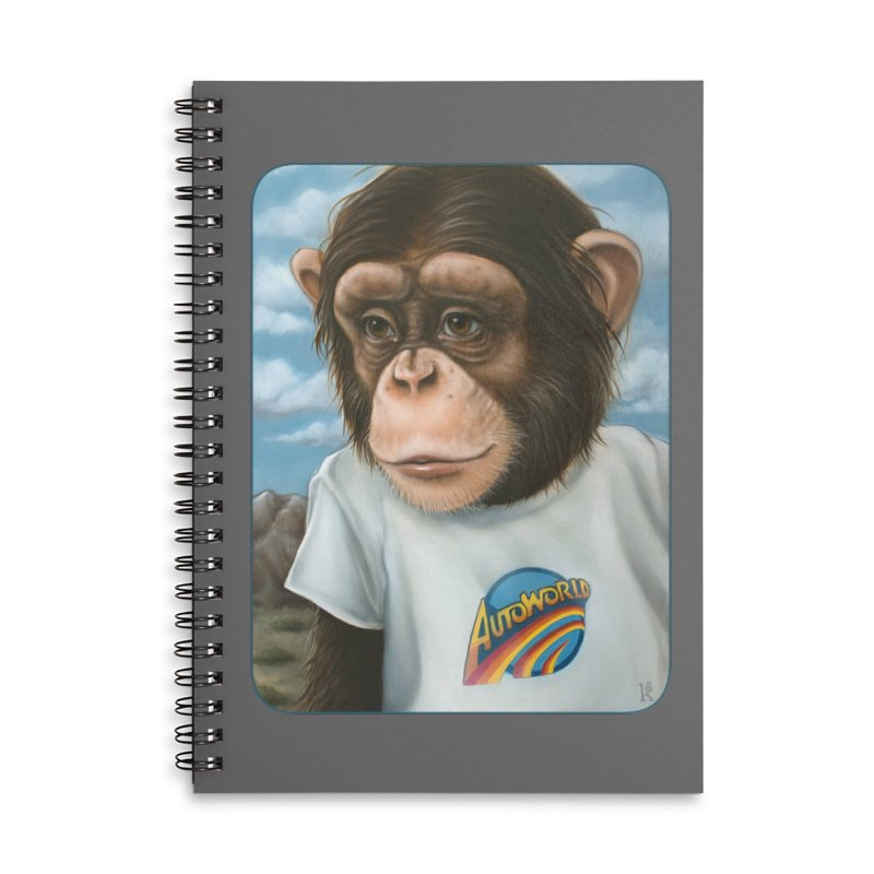 Auto Chimp Accessories Lined Spiral Notebook by Ken Keirns