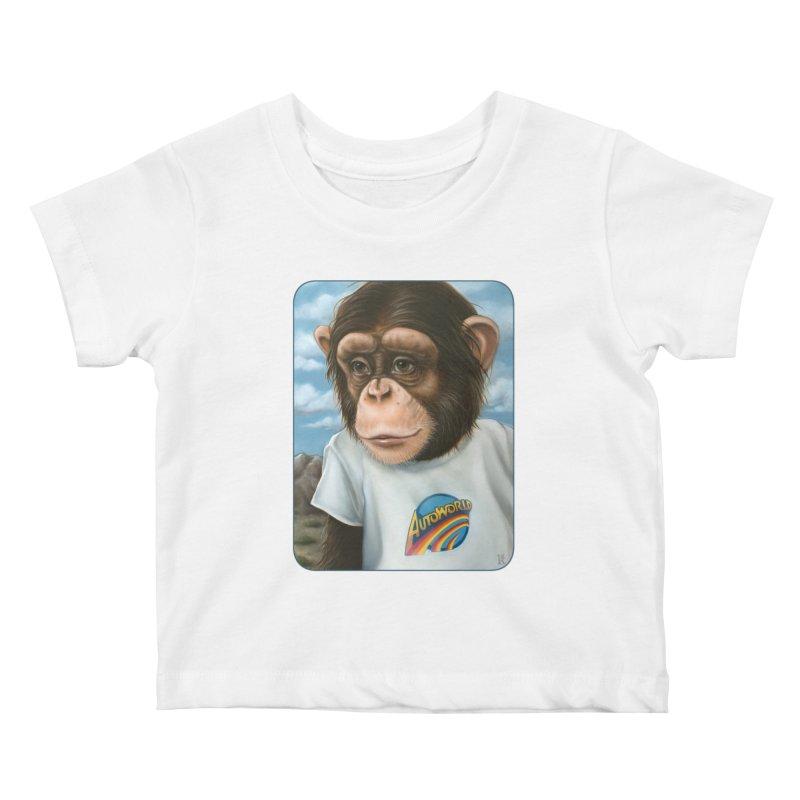 Auto Chimp Kids Baby T-Shirt by Ken Keirns
