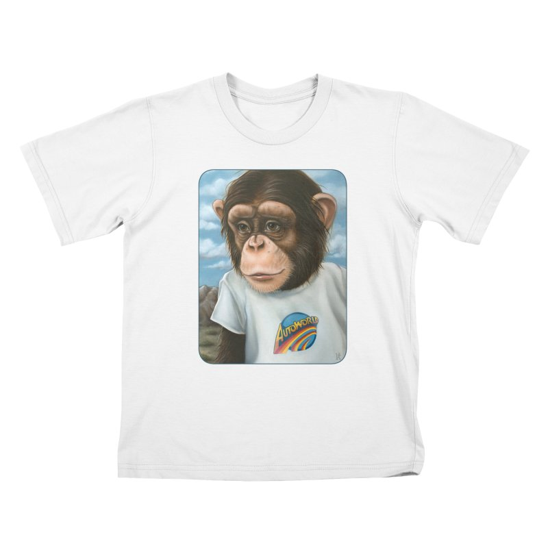 Auto Chimp Kids T-Shirt by Ken Keirns