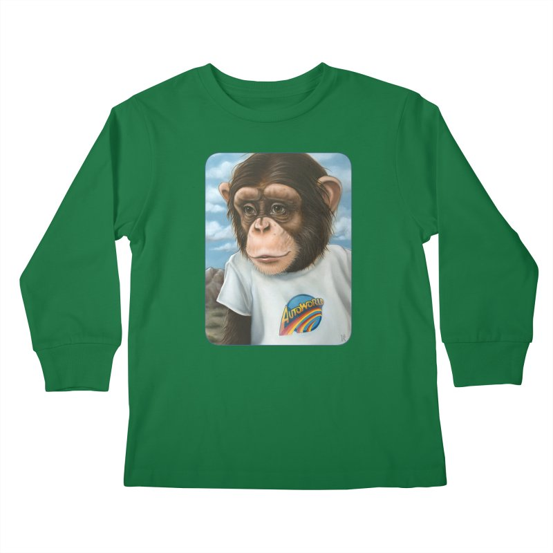 Auto Chimp Kids Longsleeve T-Shirt by Ken Keirns
