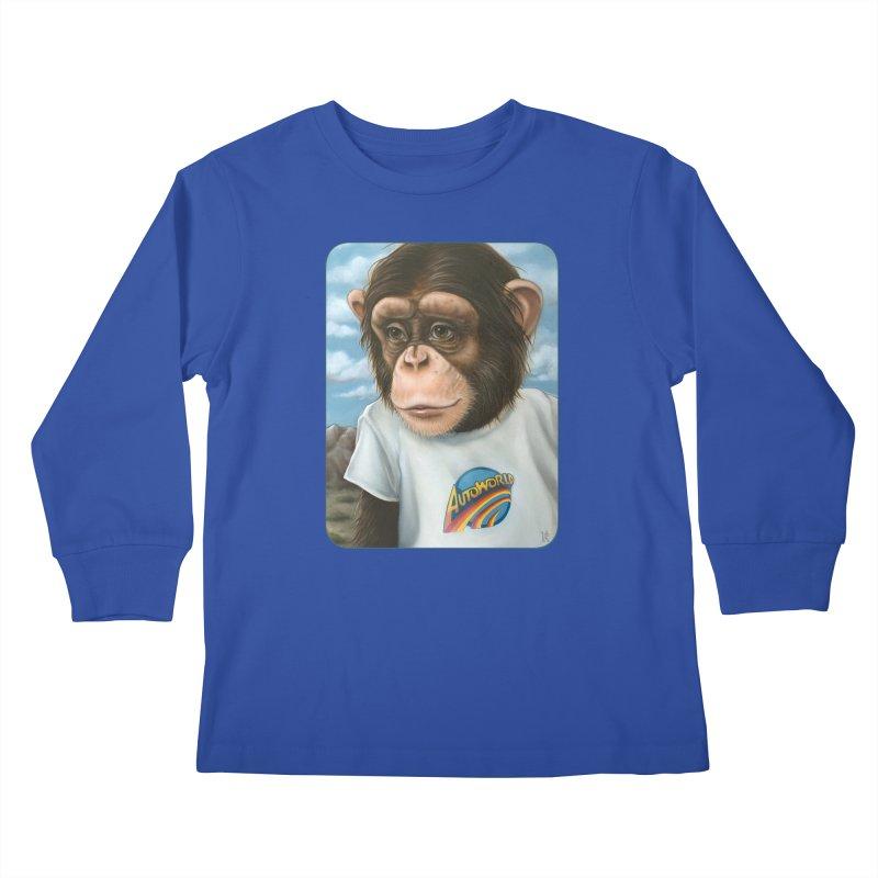 Auto Chimp Kids Longsleeve T-Shirt by Ken Keirns