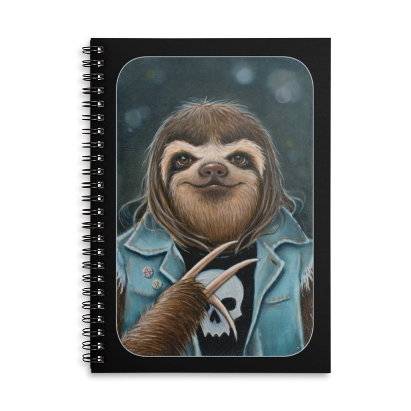 Metal Sloth Accessories Lined Spiral Notebook by Ken Keirns