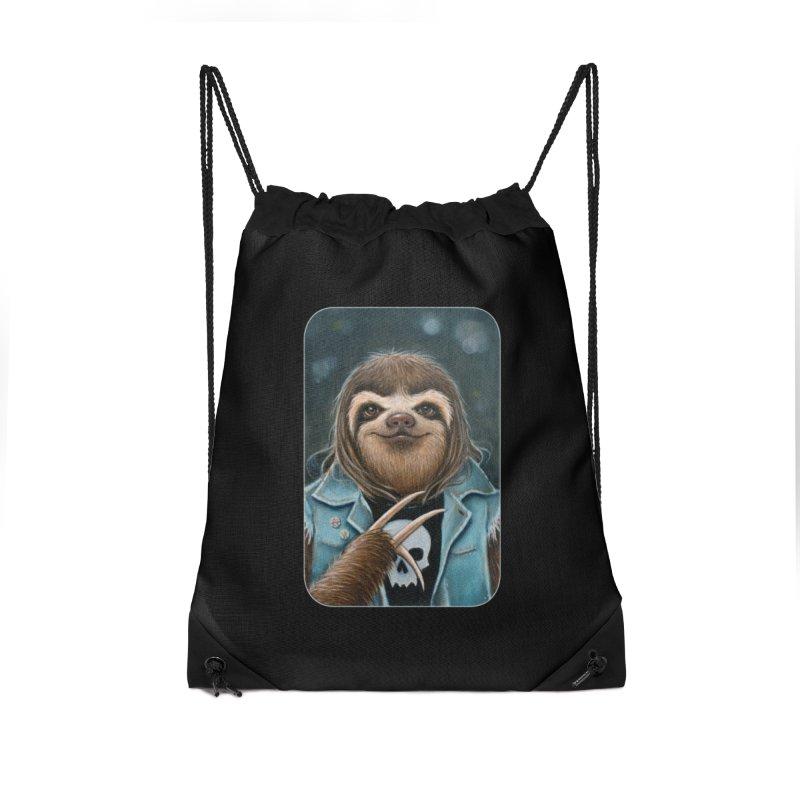 Metal Sloth Accessories Drawstring Bag Bag by Ken Keirns