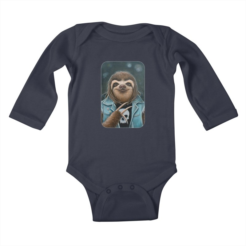 Metal Sloth Kids Baby Longsleeve Bodysuit by Ken Keirns