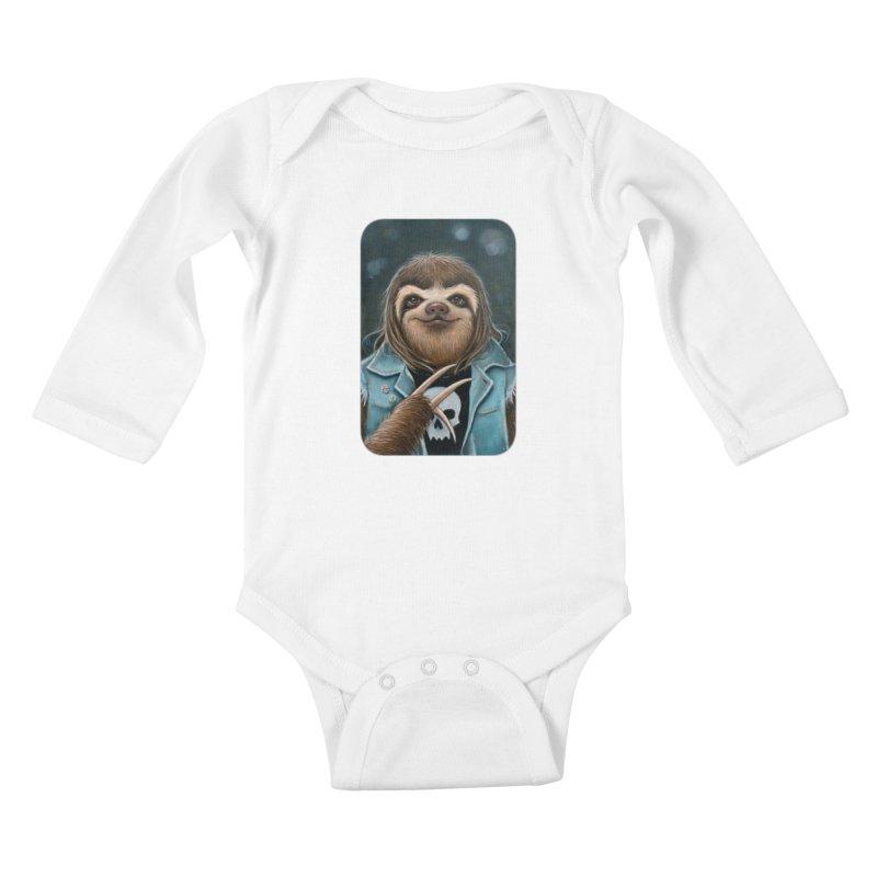 Metal Sloth Kids Baby Longsleeve Bodysuit by Ken Keirns