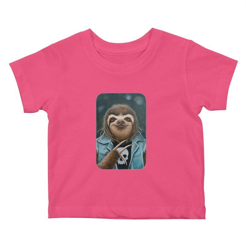 Metal Sloth Kids Baby T-Shirt by Ken Keirns