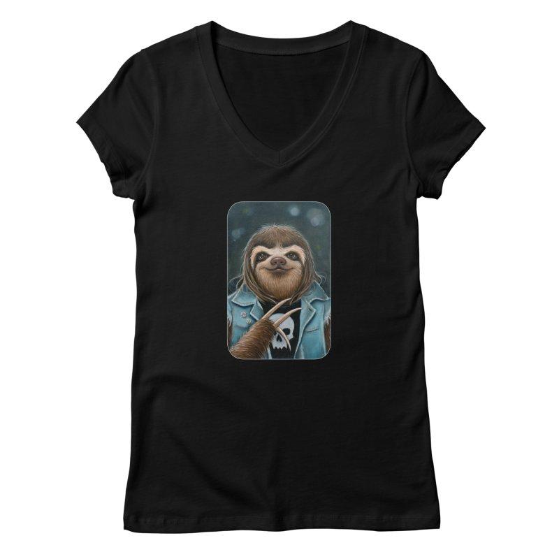 Metal Sloth Women's V-Neck by Ken Keirns