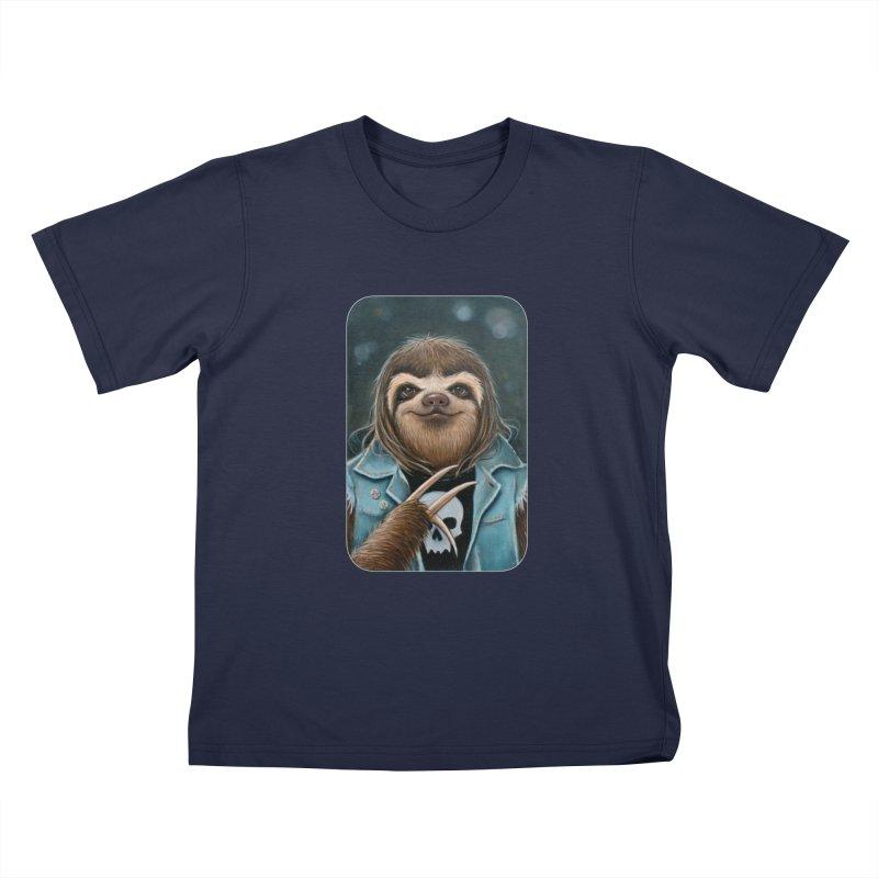 Metal Sloth Kids T-Shirt by Ken Keirns