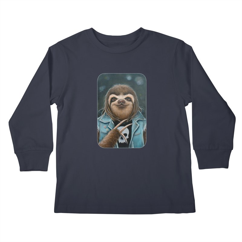 Metal Sloth Kids Longsleeve T-Shirt by Ken Keirns