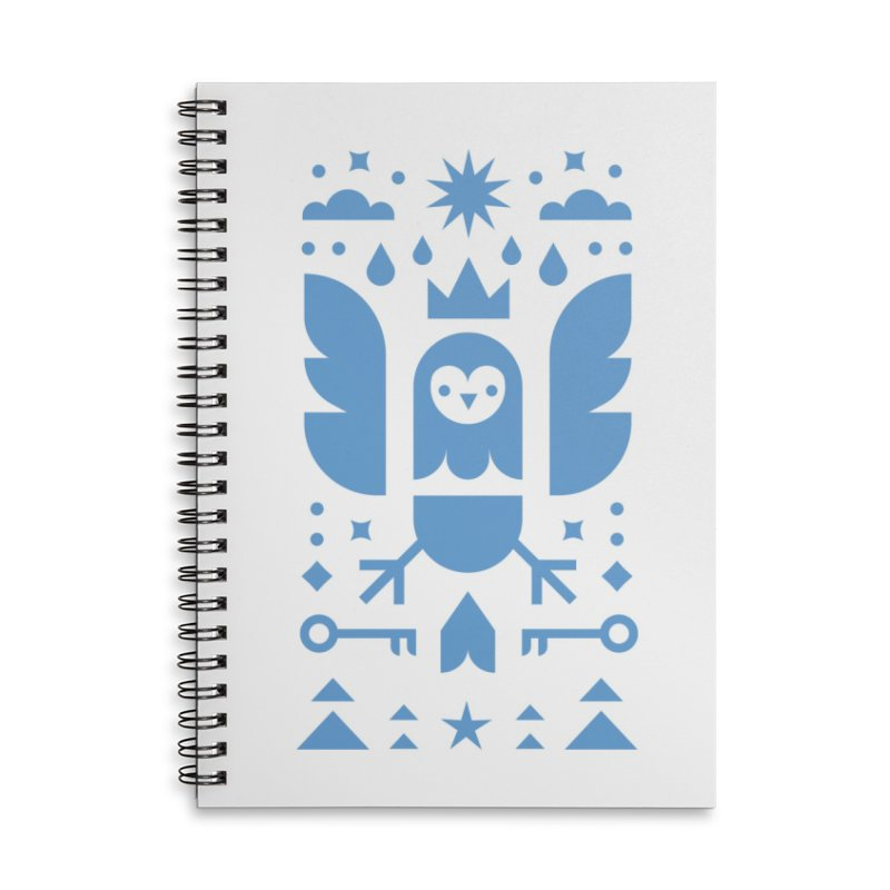 Wise Owl Blue Accessories Lined Spiral Notebook by kevincraftco's Artist Shop