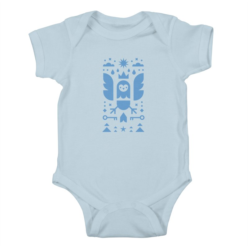 Wise Owl Blue Kids Baby Bodysuit by kevincraftco's Artist Shop