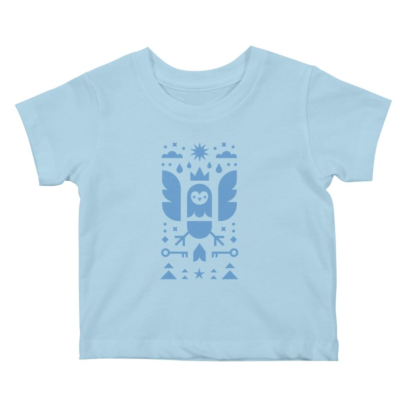 Wise Owl Blue Kids Baby T-Shirt by kevincraftco's Artist Shop
