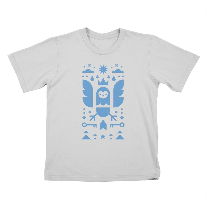Wise Owl Blue Kids T-Shirt by kevincraftco's Artist Shop