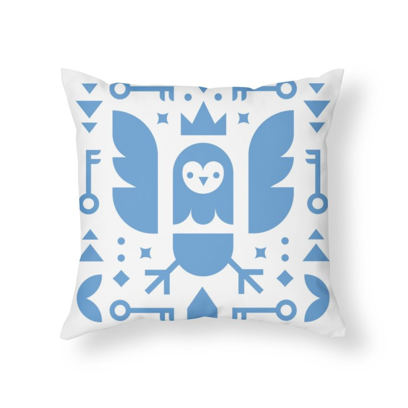 Wise Owl Blue Home Throw Pillow by kevincraftco's Artist Shop