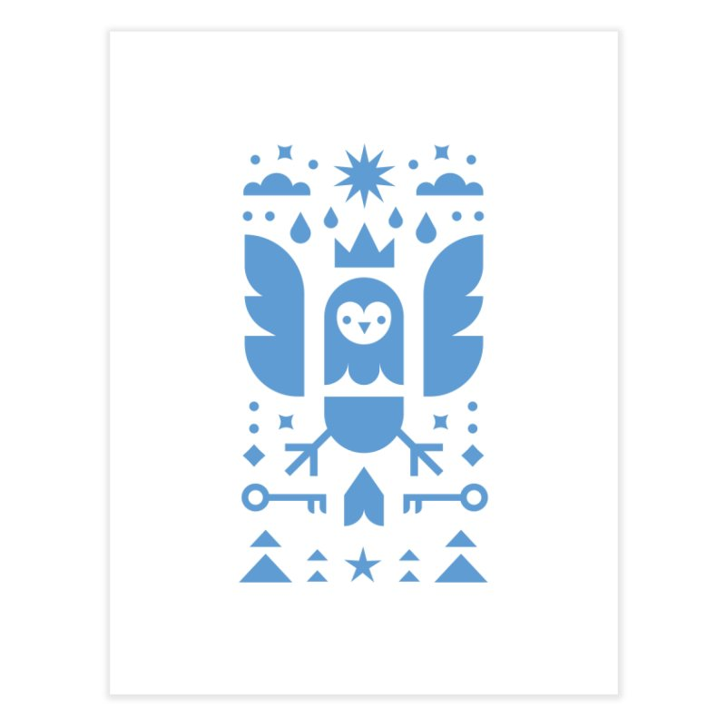 Wise Owl Blue Home Fine Art Print by kevincraftco's Artist Shop