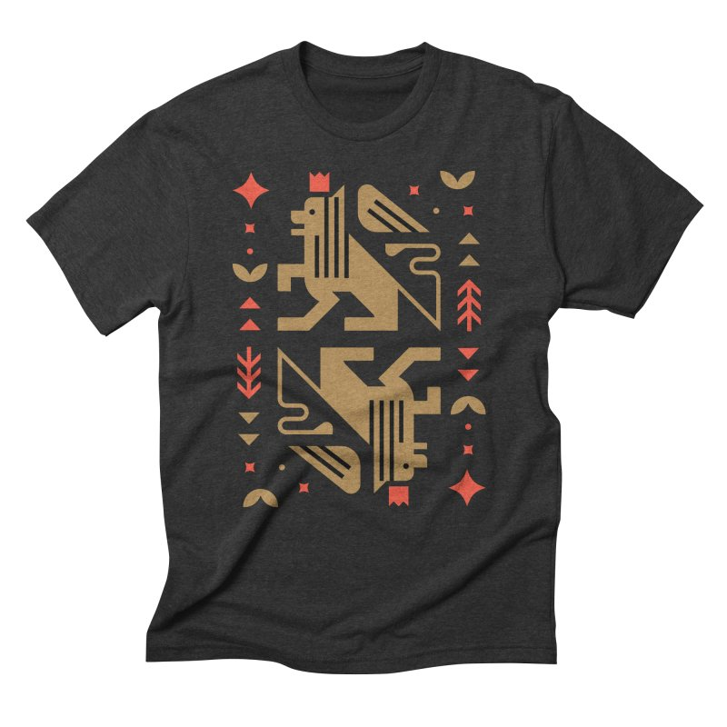 Proud Lion Gold Men's Triblend T-Shirt by kevincraftco's Artist Shop