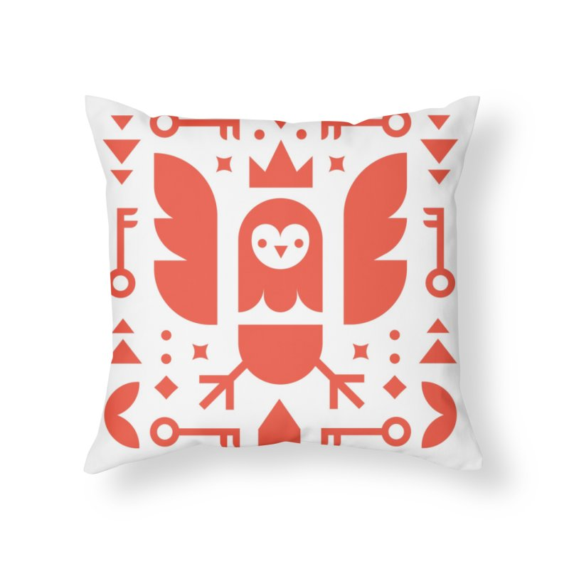 Wise Owl Red Home Throw Pillow by kevincraftco's Artist Shop