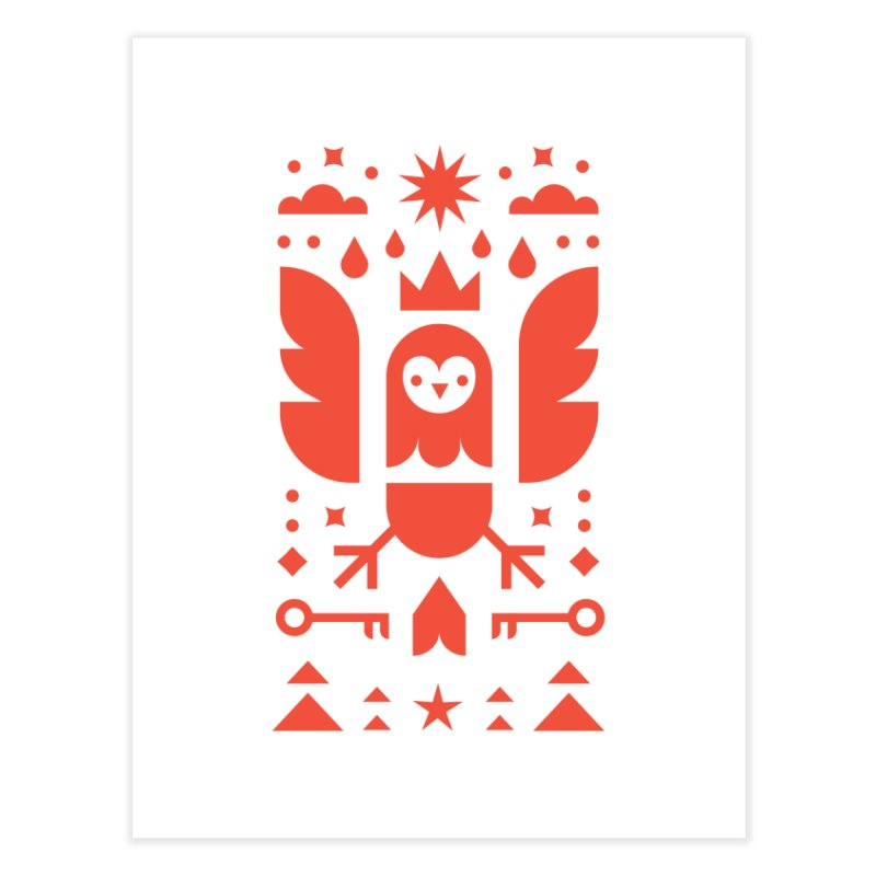 Wise Owl Red Home Fine Art Print by kevincraftco's Artist Shop