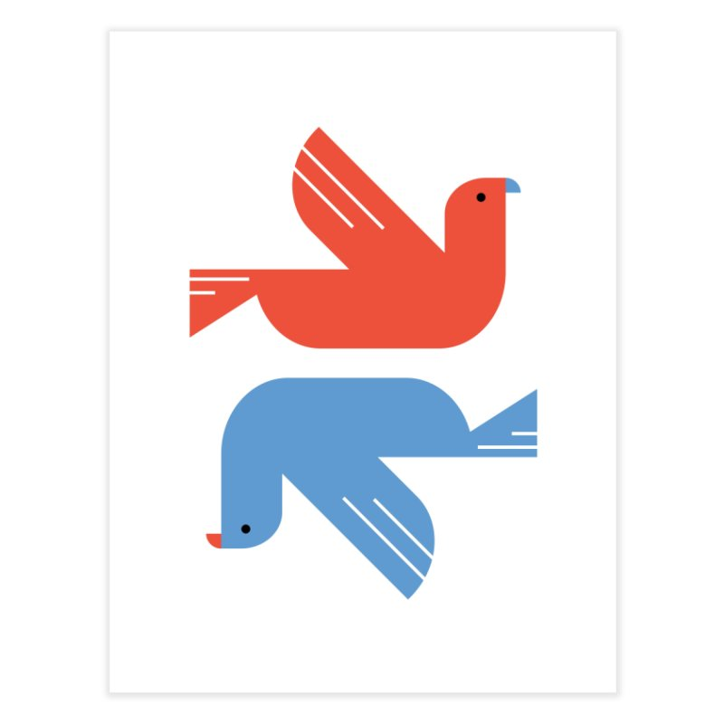 Red Dove Blue Dove Home Fine Art Print by kevincraftco's Artist Shop