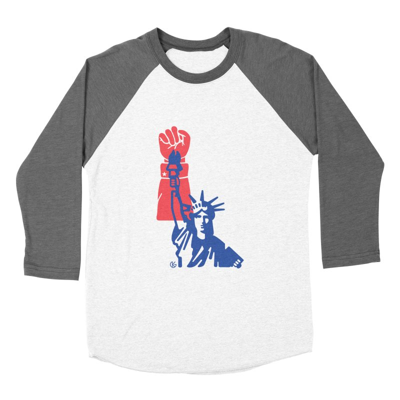 Liberty For All Men's Baseball Triblend Longsleeve T-Shirt by Kevin's Pop Shop