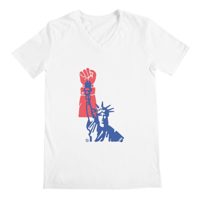 Liberty For All Men's Regular V-Neck by Kevin's Pop Shop