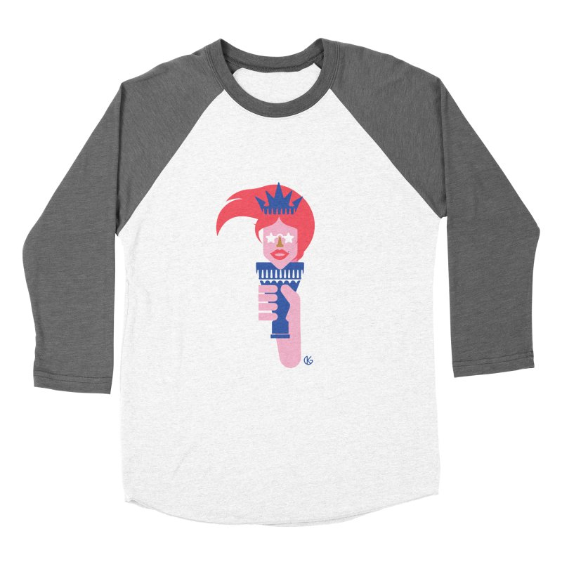 Lady Liberty Women's Baseball Triblend Longsleeve T-Shirt by Kevin's Pop Shop