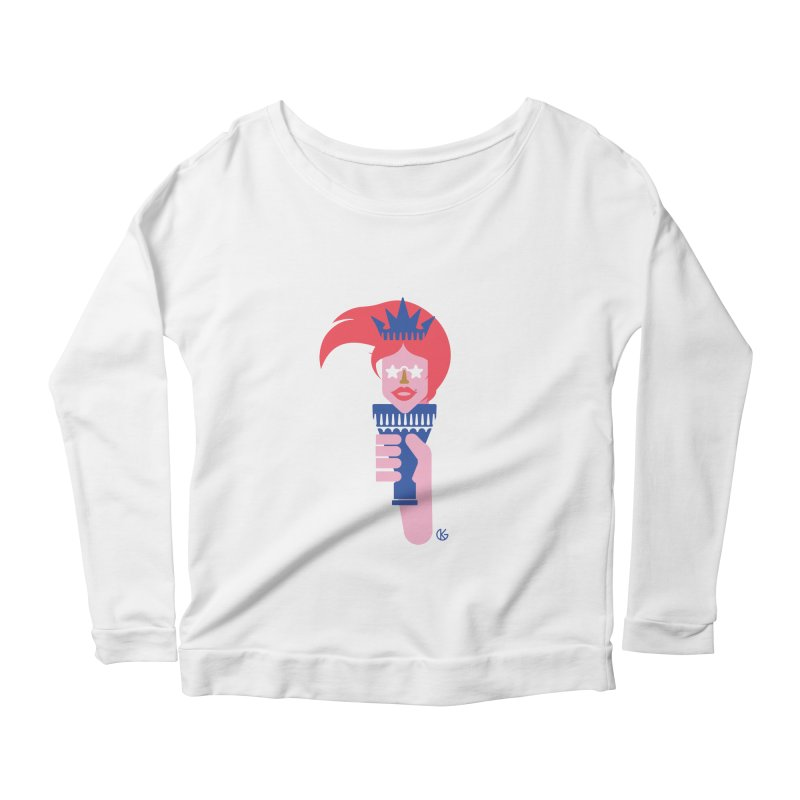 Lady Liberty Women's Scoop Neck Longsleeve T-Shirt by Kevin's Pop Shop