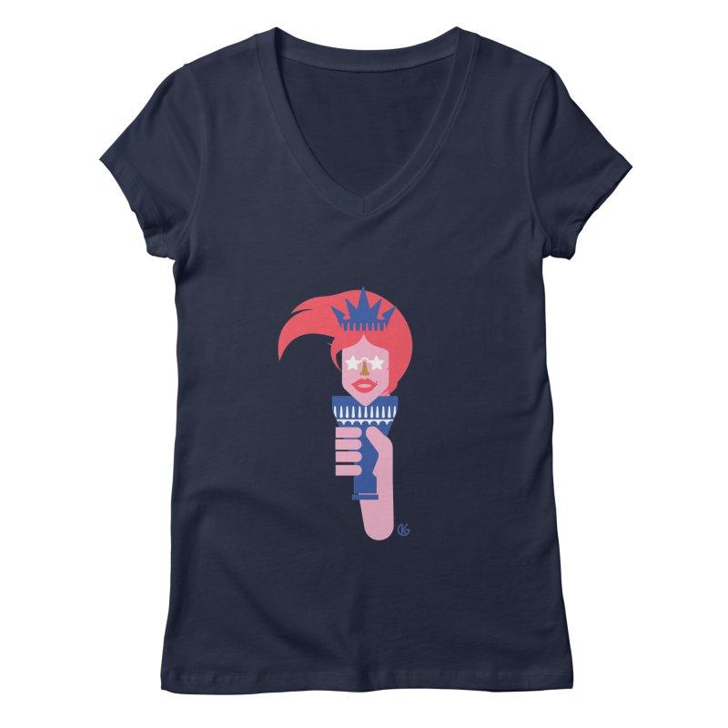 Lady Liberty Women's Regular V-Neck by Kevin's Pop Shop