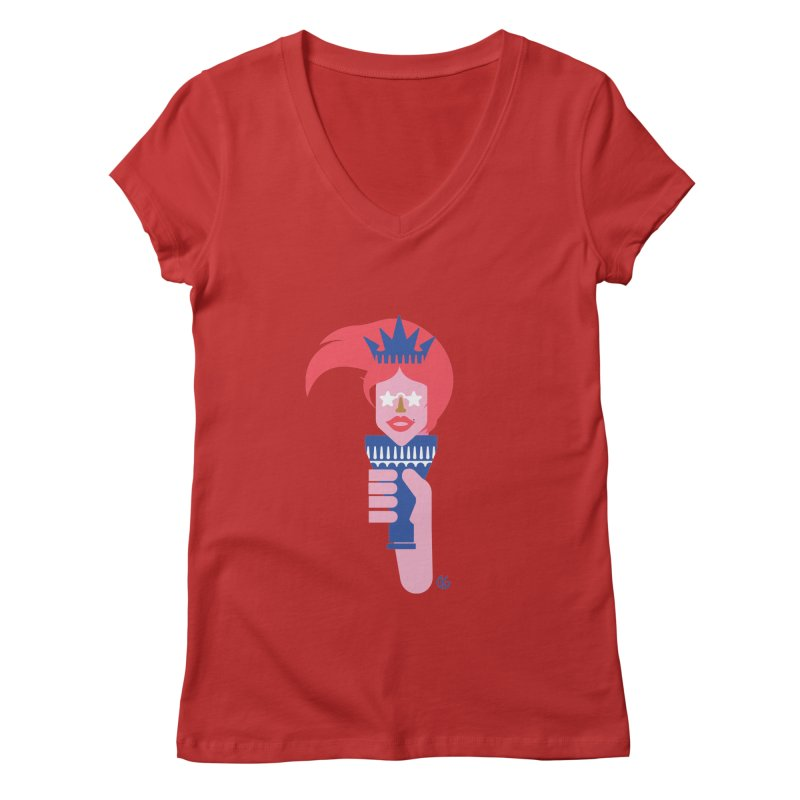 Lady Liberty Women's Regular V-Neck by Kevin's Pop Shop