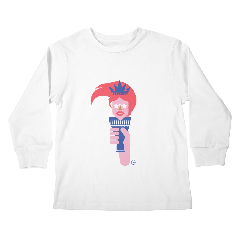 Lady Liberty Kids Longsleeve T-Shirt by Kevin's Pop Shop