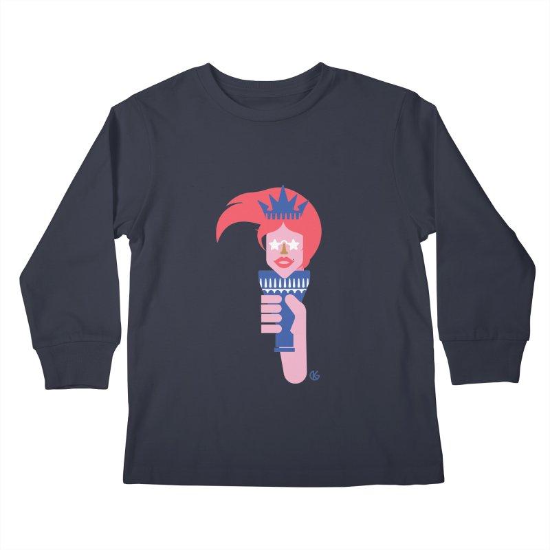 Lady Liberty Kids Longsleeve T-Shirt by Kevin's Pop Shop