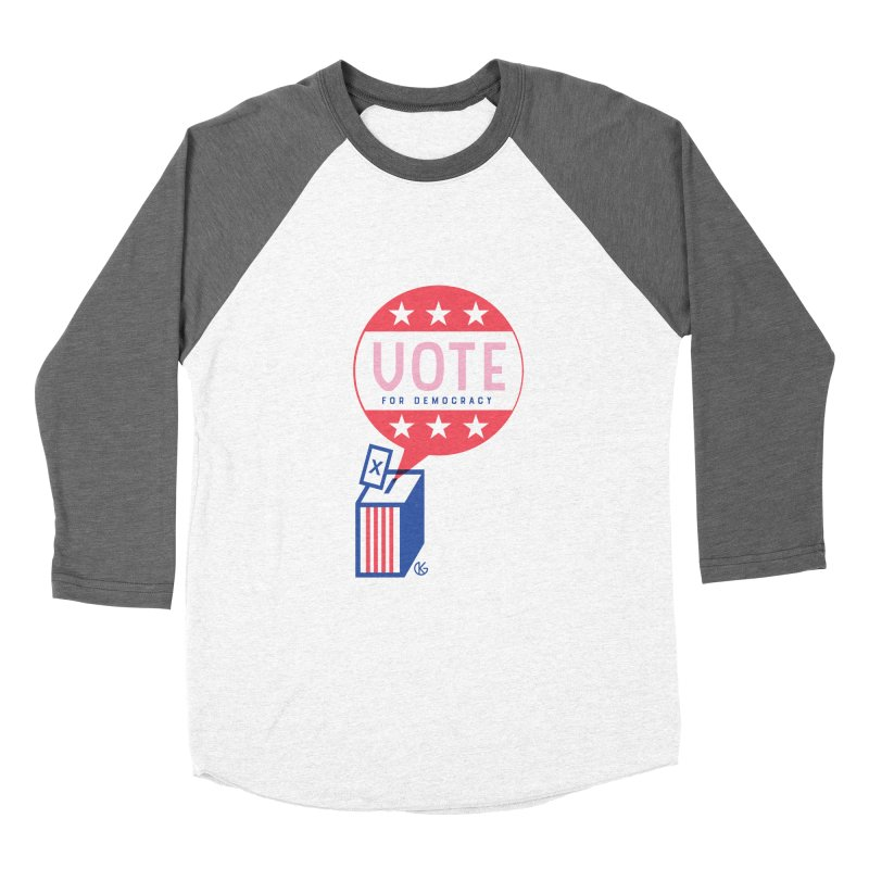 Vote for Democracy Men's Baseball Triblend Longsleeve T-Shirt by Kevin's Pop Shop
