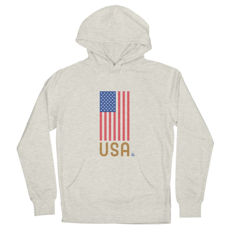 Flag USA Men's French Terry Pullover Hoody by Kevin's Pop Shop