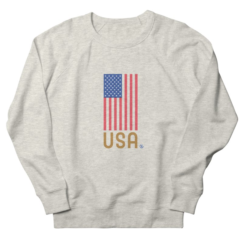 Flag USA Men's French Terry Sweatshirt by Kevin's Pop Shop