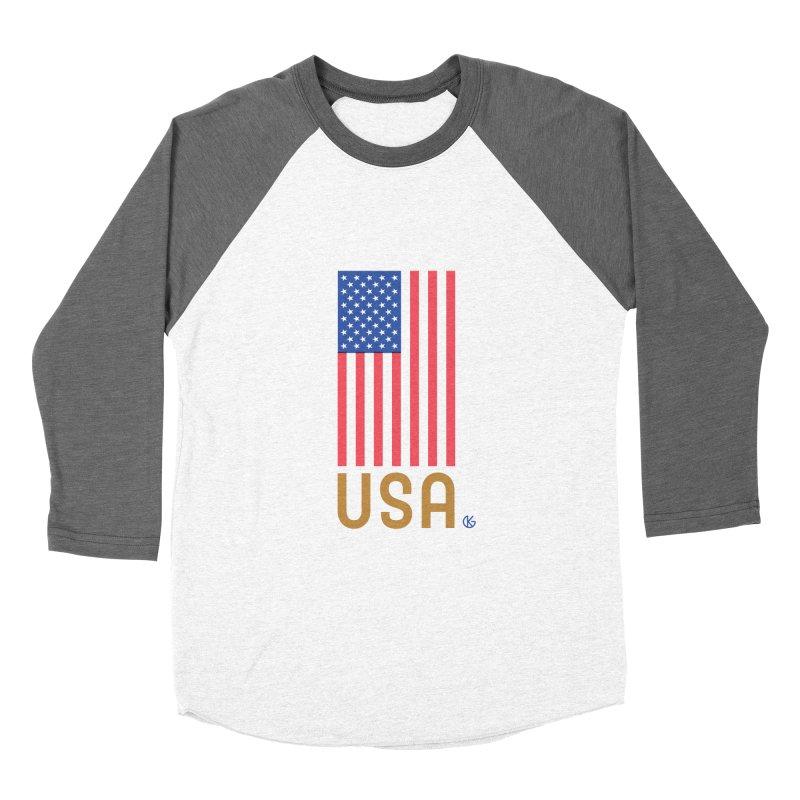 Flag USA Men's Baseball Triblend Longsleeve T-Shirt by Kevin's Pop Shop