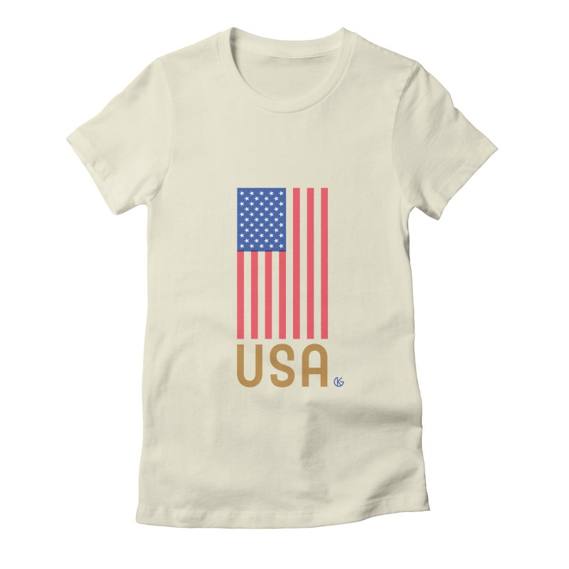 Flag USA Women's Fitted T-Shirt by Kevin's Pop Shop