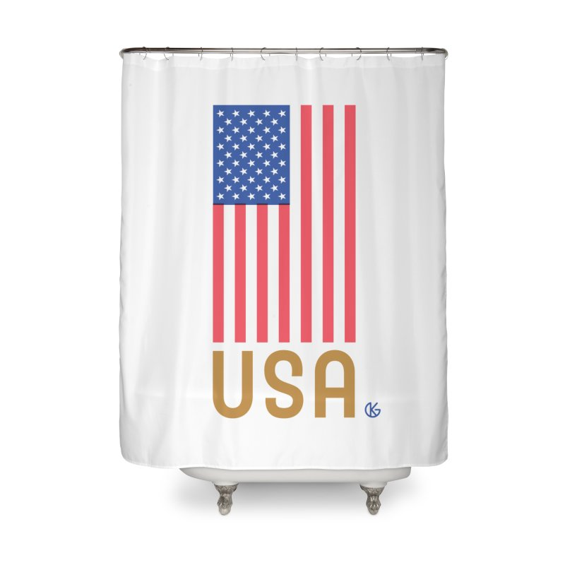 Flag USA Home Shower Curtain by Kevin's Pop Shop