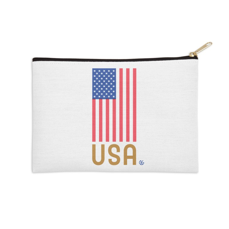 Flag USA Accessories Zip Pouch by Kevin's Pop Shop