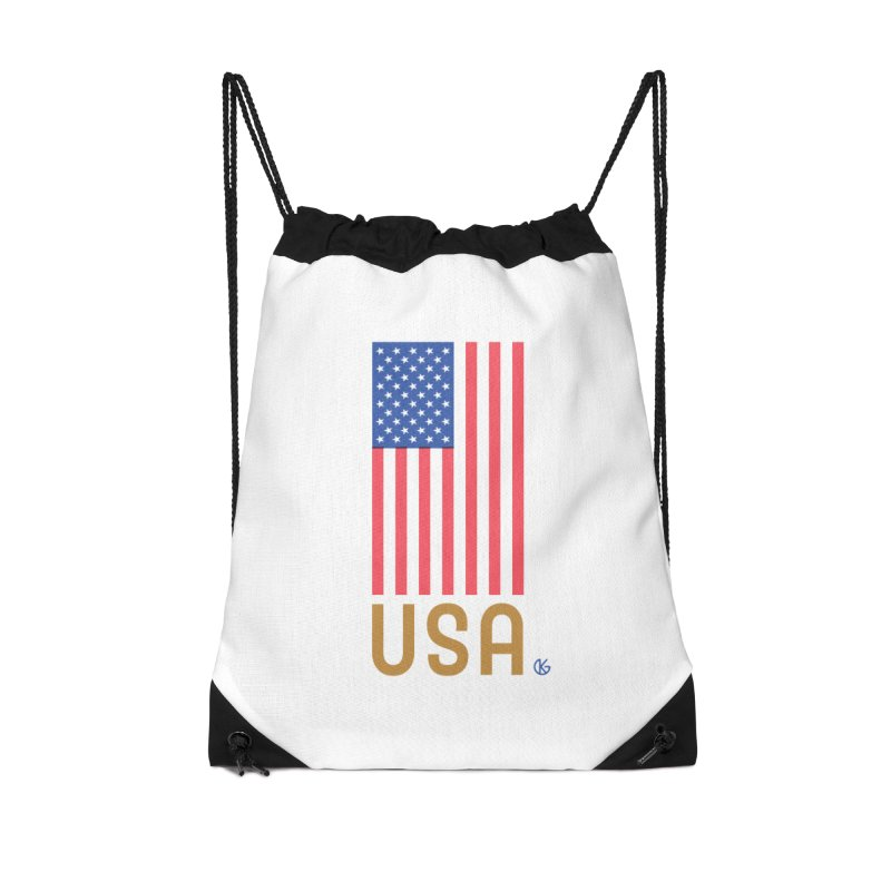Flag USA Accessories Drawstring Bag Bag by Kevin's Pop Shop