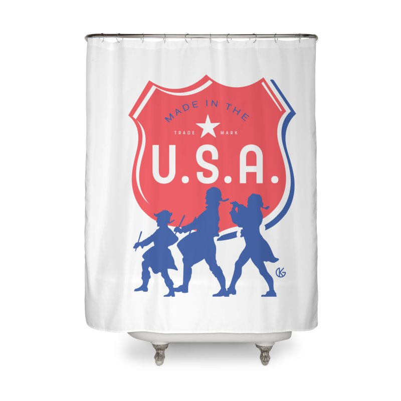 Made In The U.S.A. Home Shower Curtain by Kevin's Pop Shop