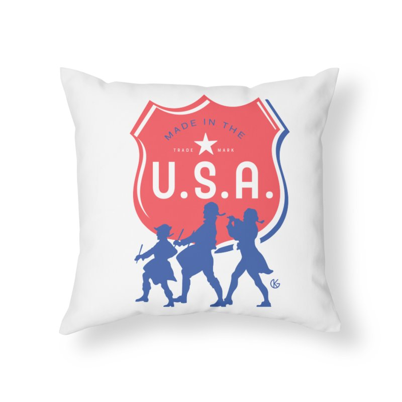 Made In The U.S.A. Home Throw Pillow by Kevin's Pop Shop
