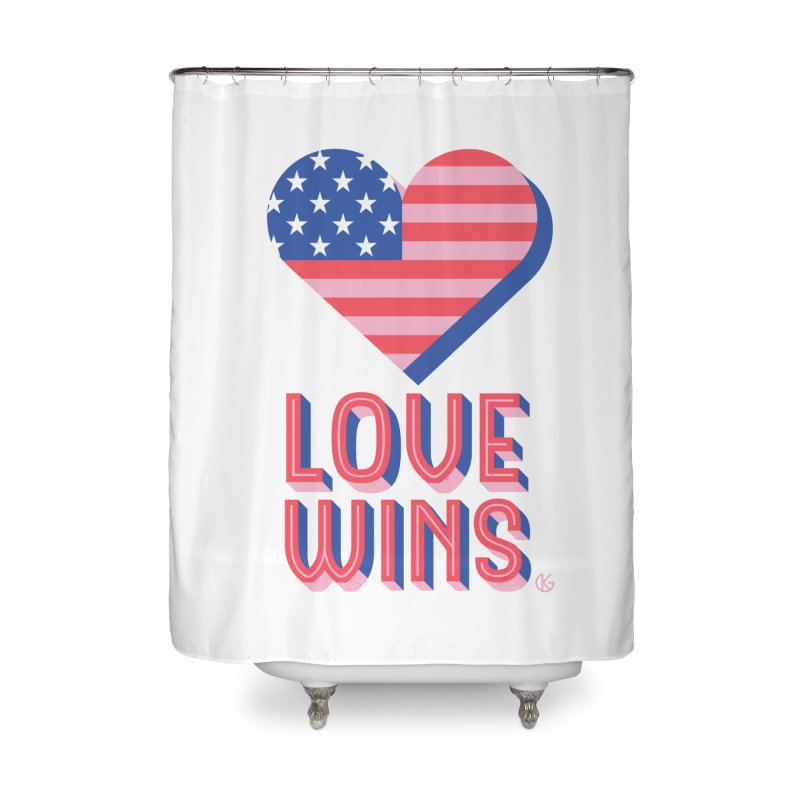 Love Wins Home Shower Curtain by Kevin's Pop Shop