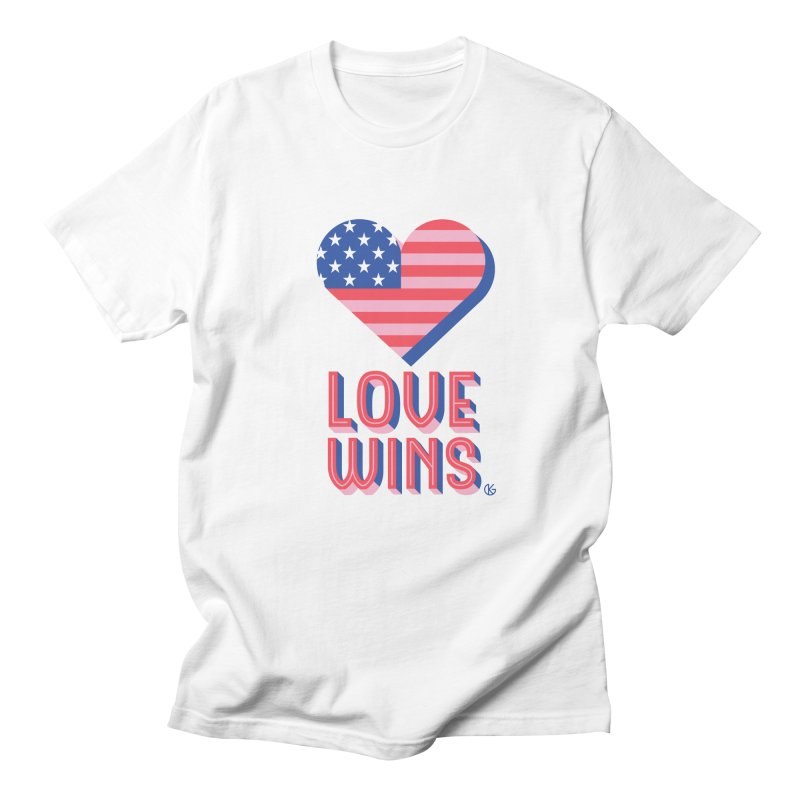 Love Wins in Men's Regular T-Shirt White by Kevin's Pop Shop