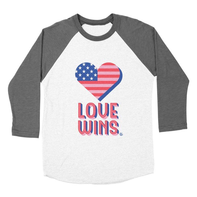Love Wins Men's Baseball Triblend Longsleeve T-Shirt by Kevin's Pop Shop