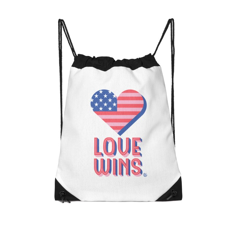 Love Wins Accessories Drawstring Bag Bag by Kevin's Pop Shop