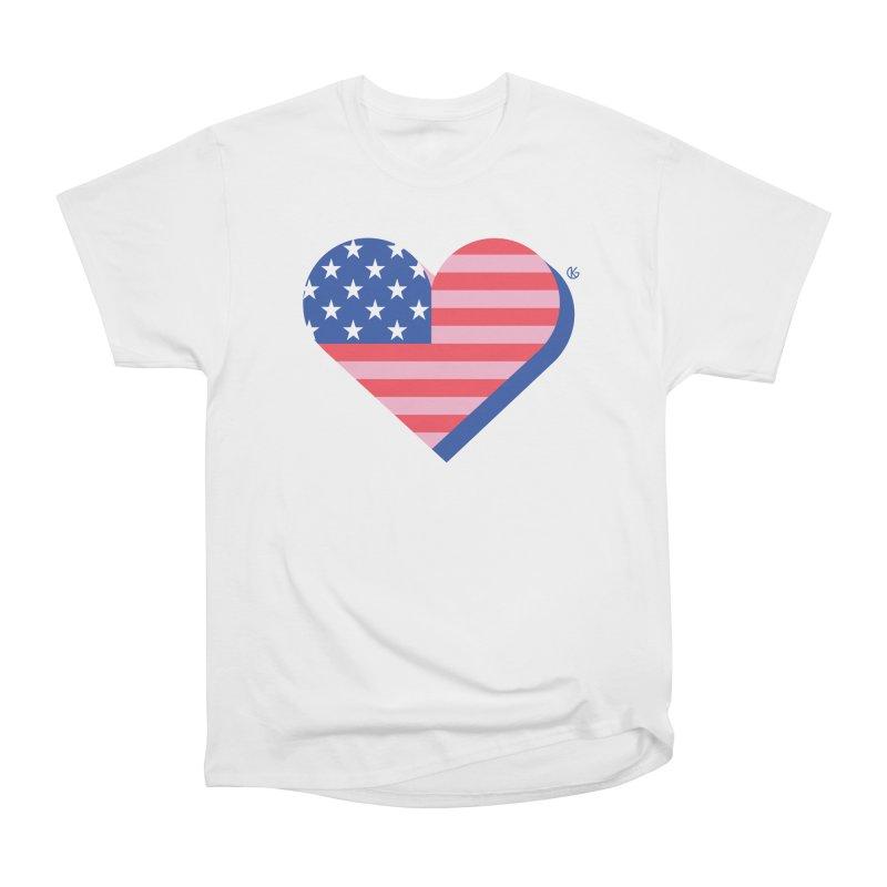 Flag Heart Men's Heavyweight T-Shirt by Kevin's Pop Shop